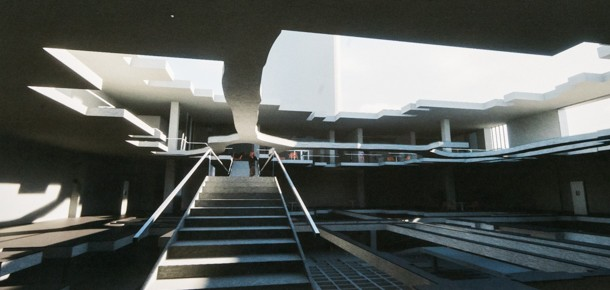Architectural rendering of a staircase