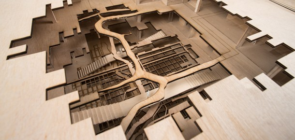 An architectural model laser cut from wood