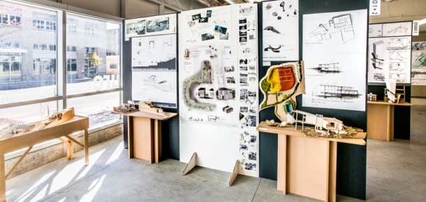 A student wall display inside the architecture studios