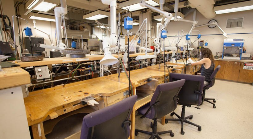 Work stations inside a jewelry design lab