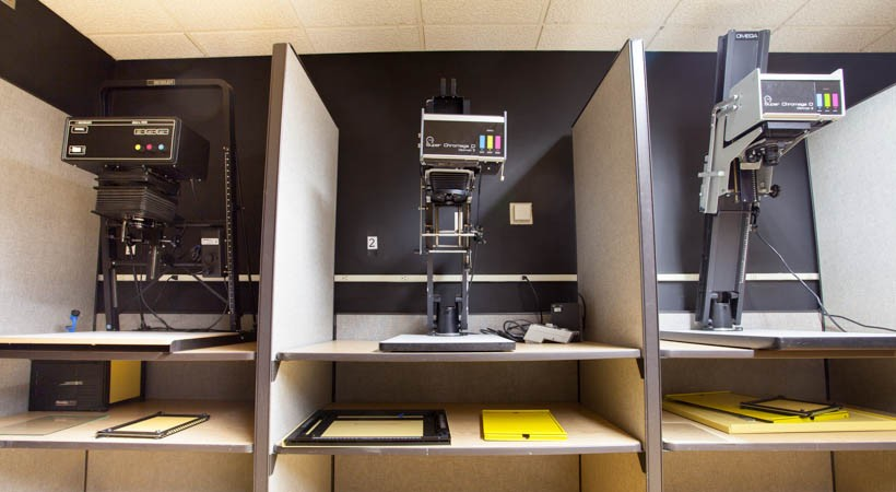Enlarging equipment in a photography darkroom