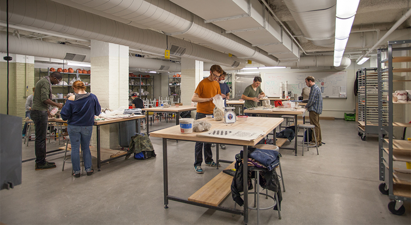 A room containing equipment for working with clay