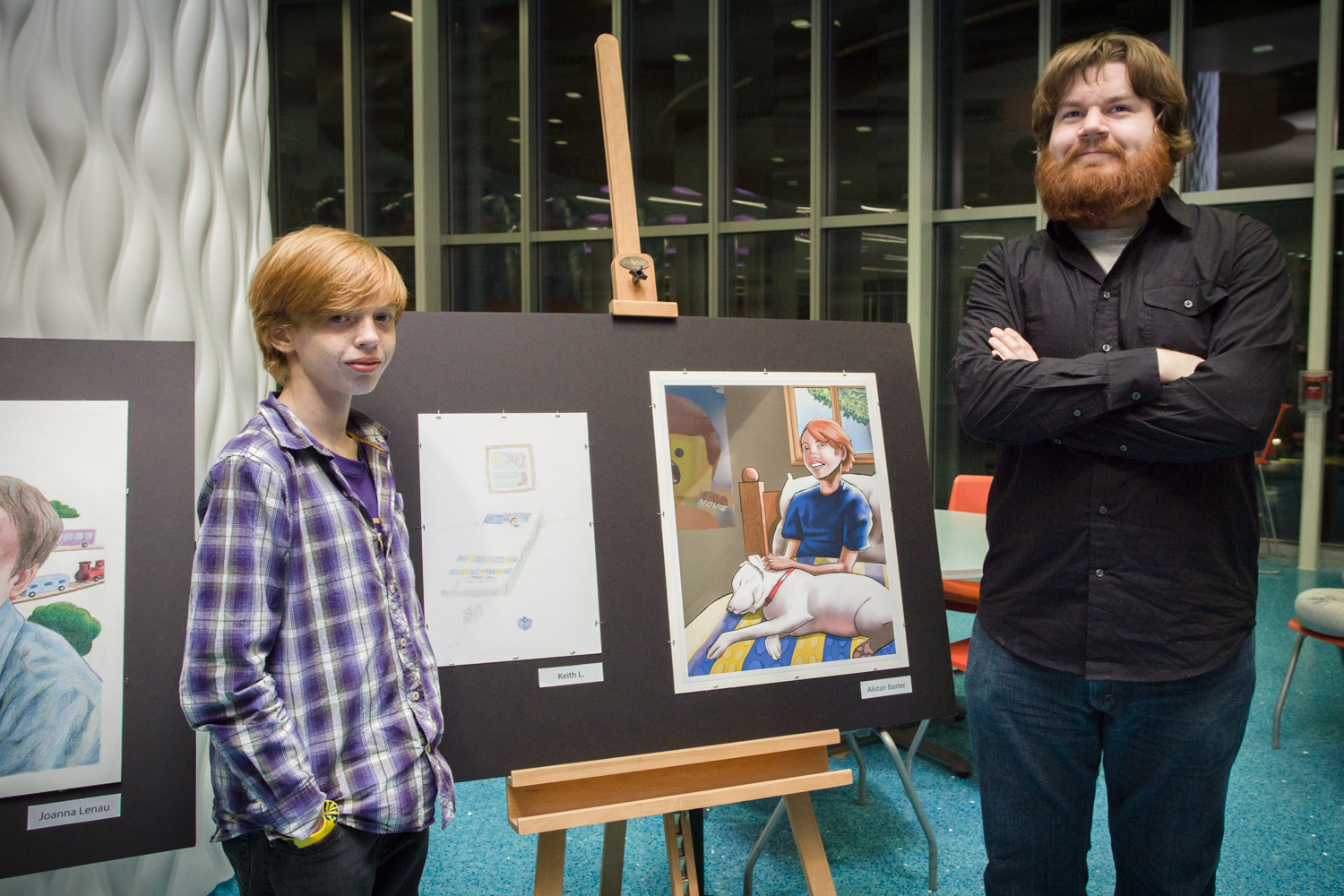 KCAD student Alistair Baxter and Keith, a patient a DeVos Children's hospital