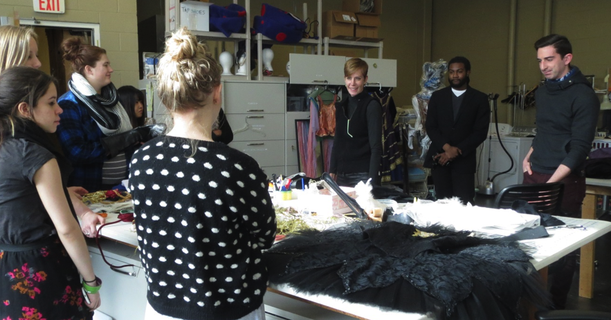 Patricia Barker, Artistic Director of the Grand Rapids Ballet, speaks to Fashion Design/Construction IV clas