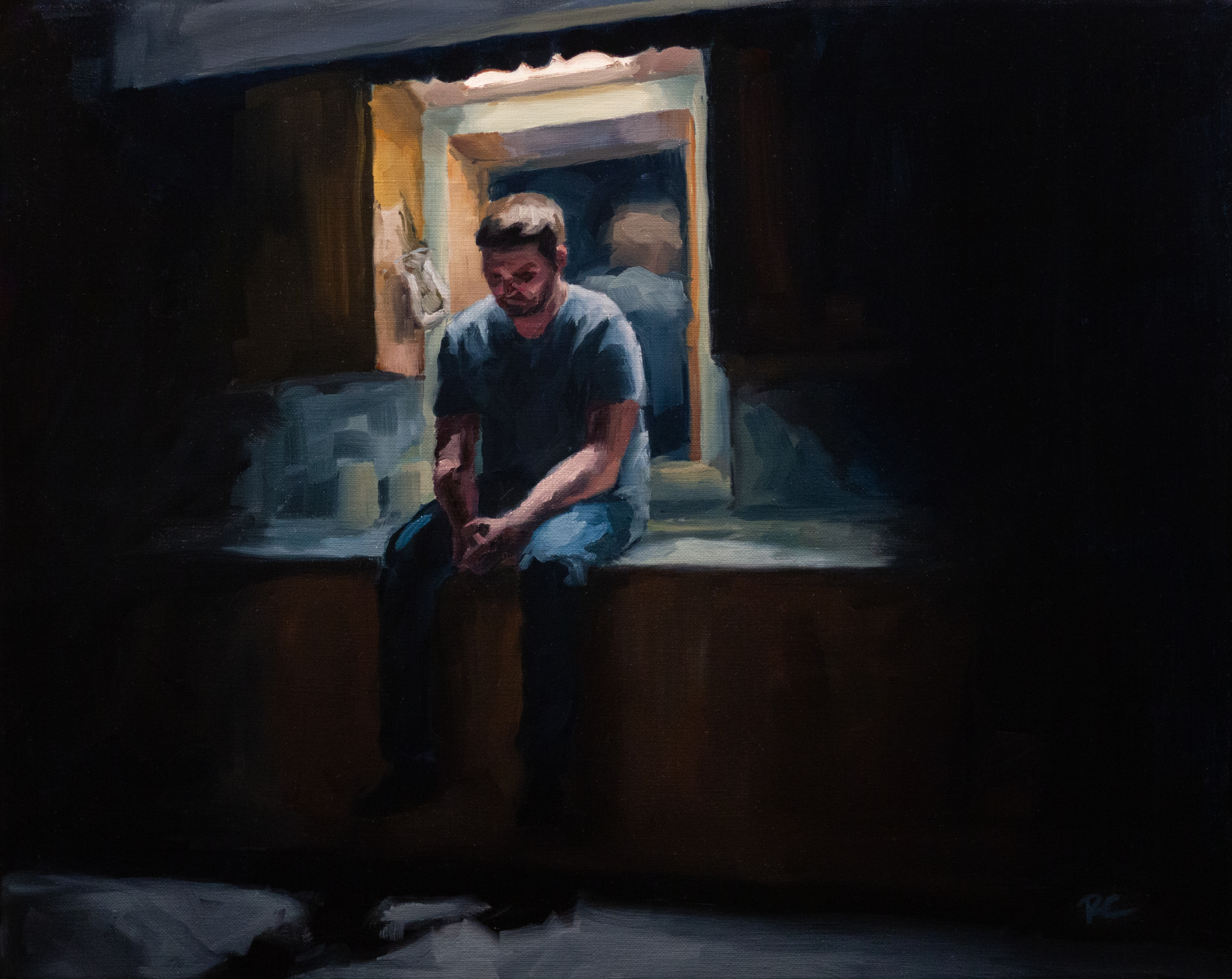 Painting of a man sitting on a sink