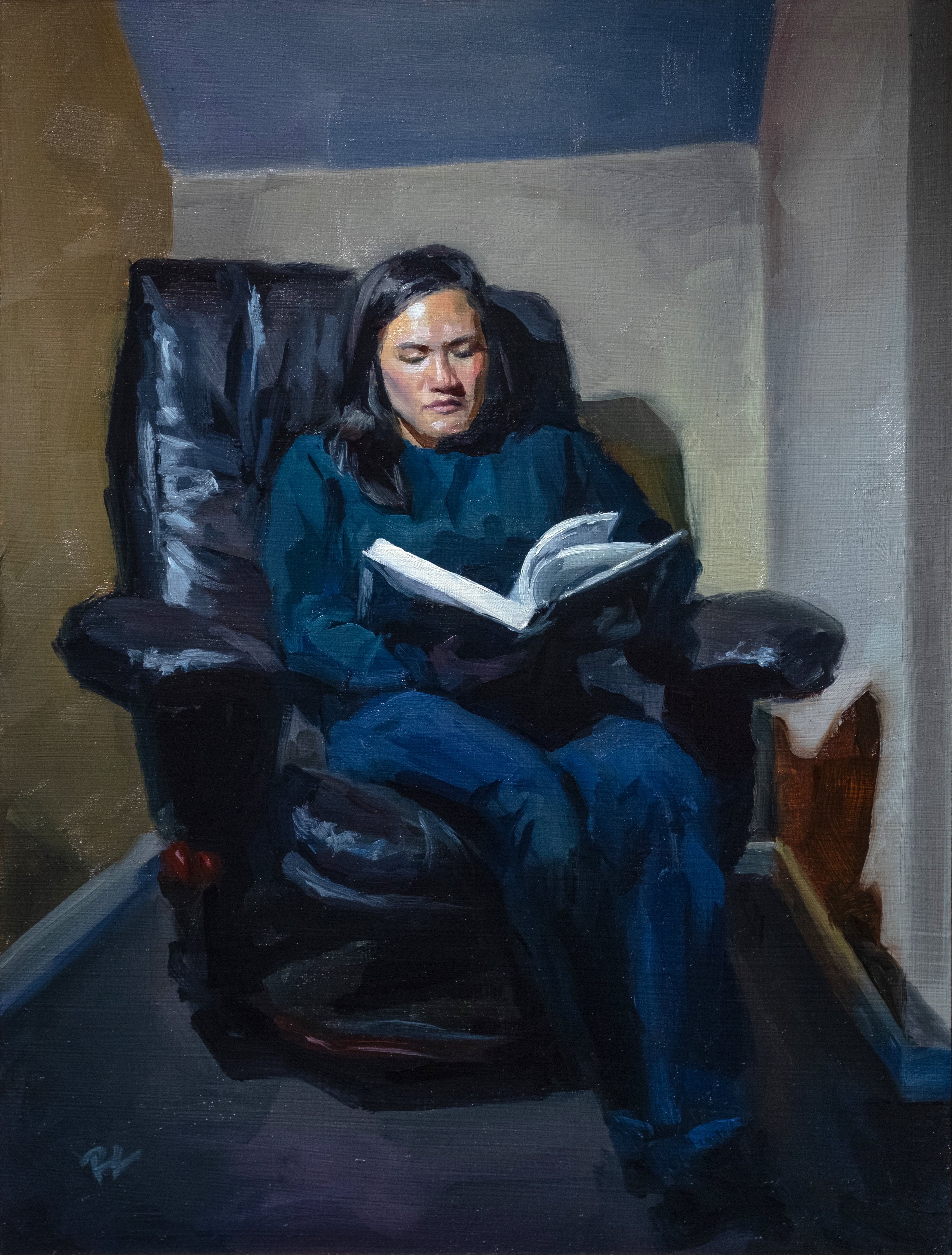 Painting of woman sitting in chair
