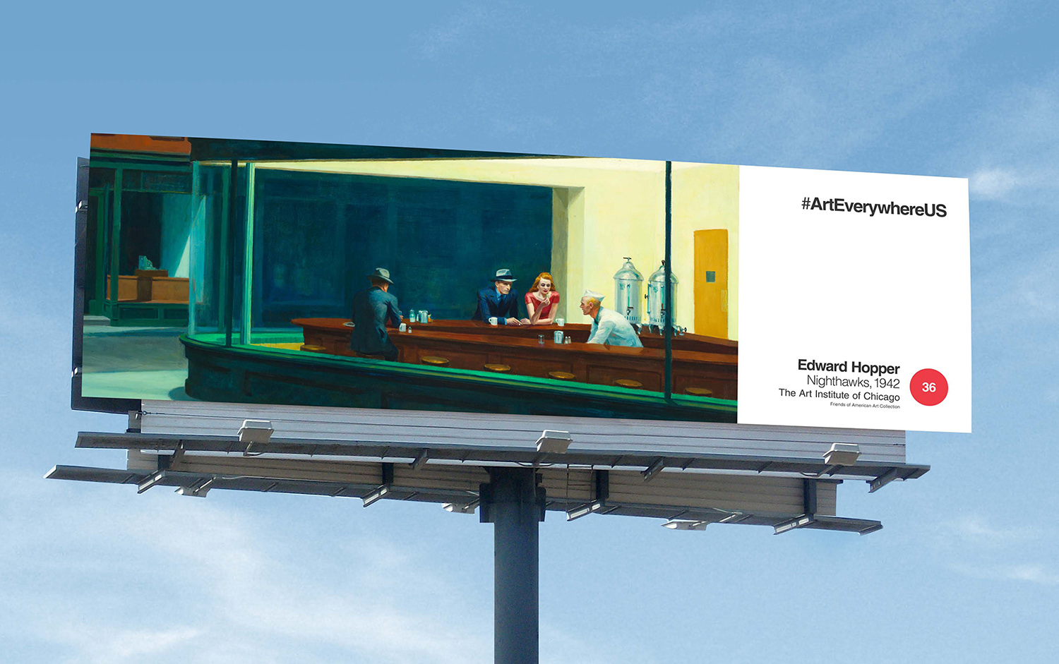 """Edward Hopper's """"Nighthawks"""" on a billboard (image courtesy of Extra Credit Projects)"""