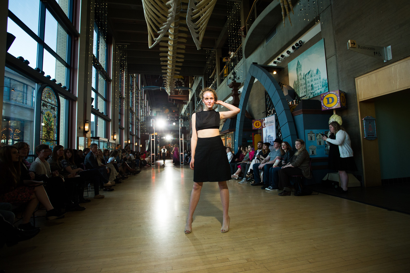 a model showcases another KCAD student-designed garment