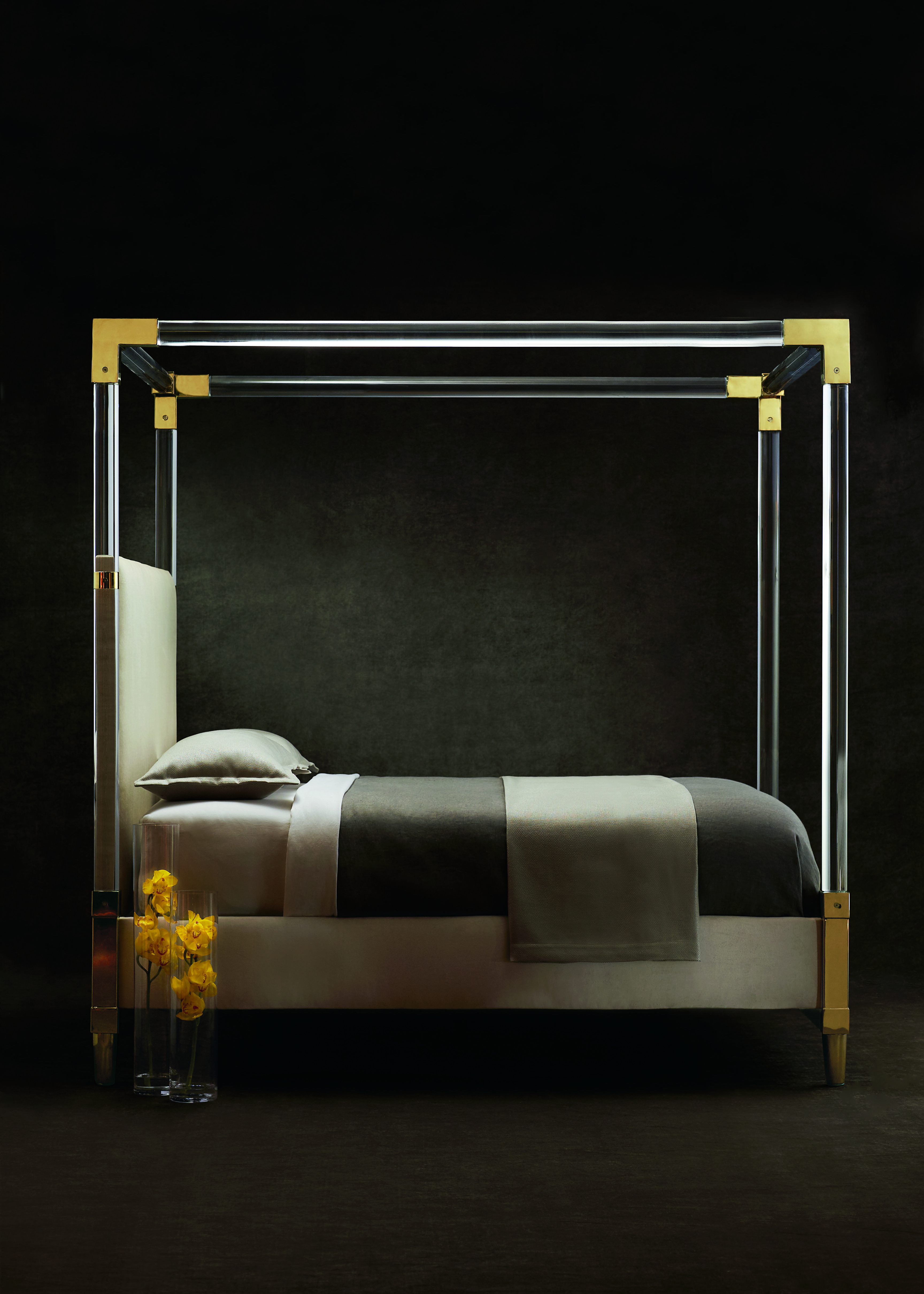 Aiden Acrylic Bed designed by Laura Niece, winner of 2016 ASFD Pinnacle Award (image courtesy of Bernhardt Furniture)