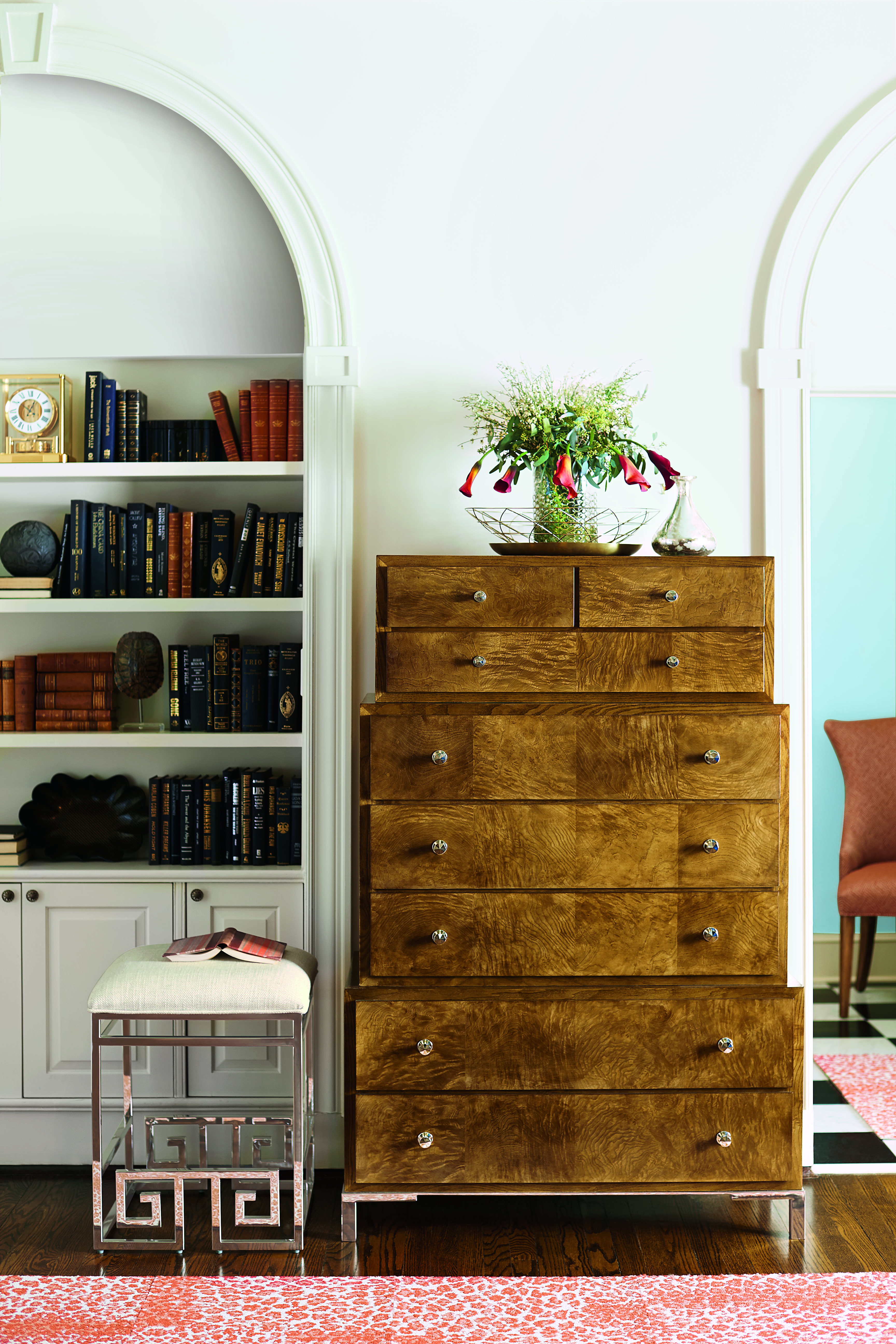 Soho Luxe Three-Tiered Tall Chest designed by Laura Niece (image courtesy of Bernhardt Furniture)