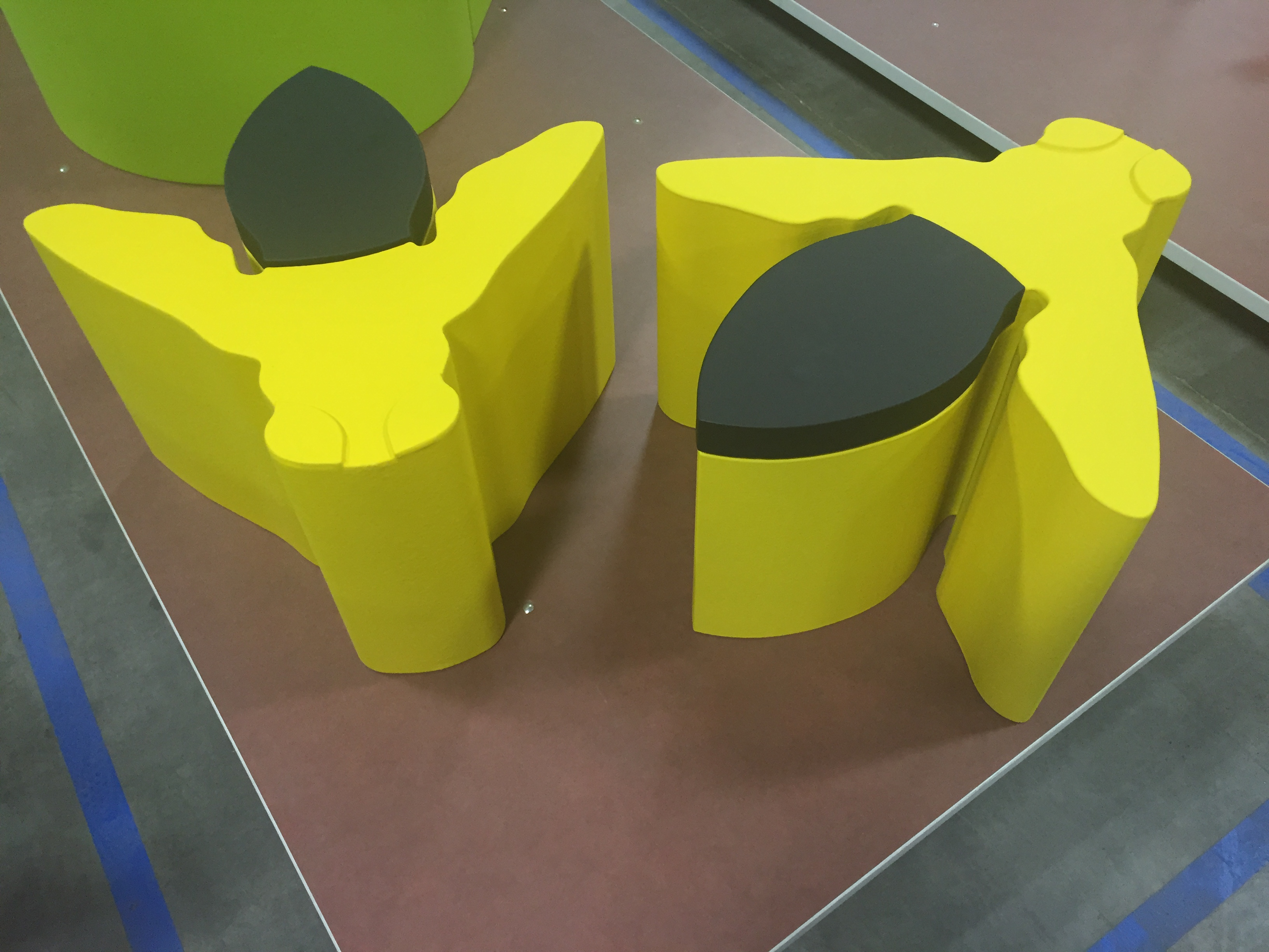 Feek coated foam seating element designed by KCAD stduents