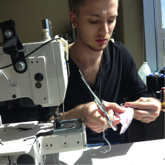 studentBen Armstrong, practicing a top stitch over elastic on four-way fabric.