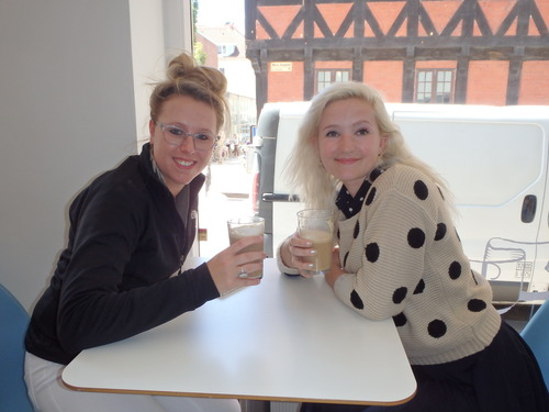 Students enjoying cafe latte