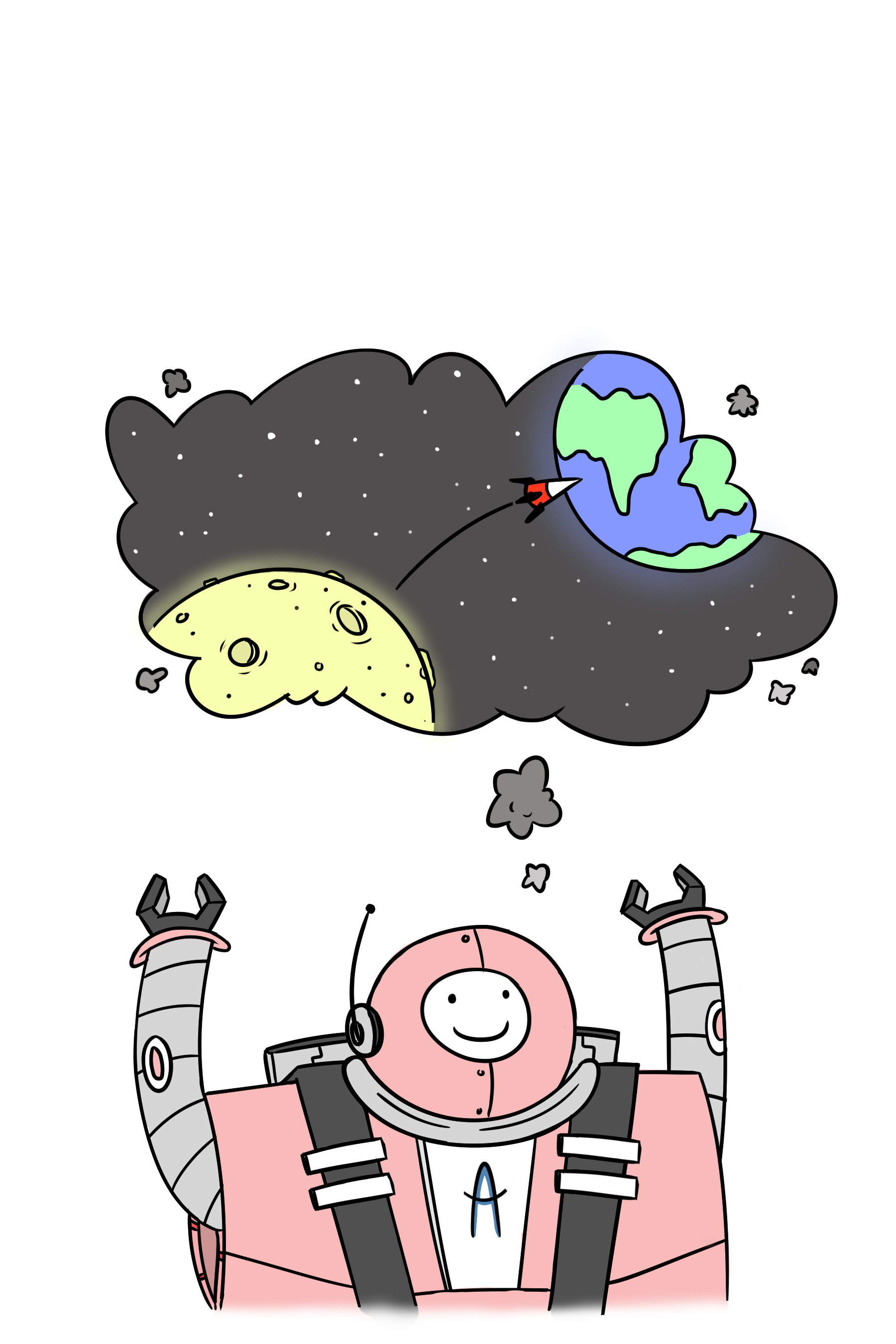 Animated robot dreams of going to space