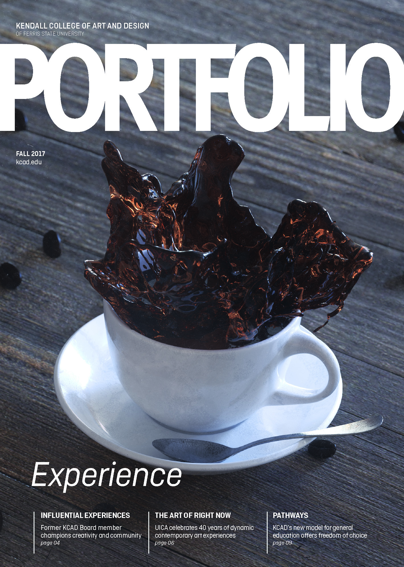 Cover of Fall 2017 Portfolio magazine showing digital 3d rendering of white coffee cup with coffee splashing out