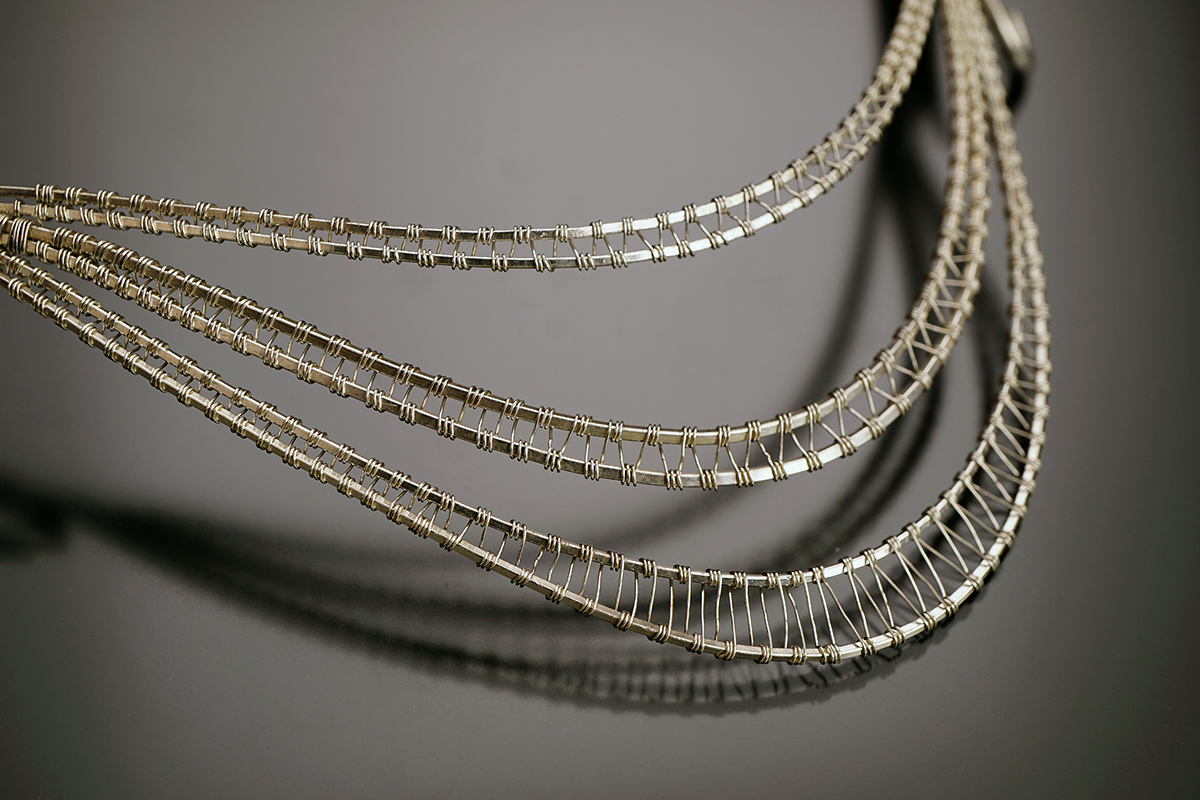 Necklace woven out of wire