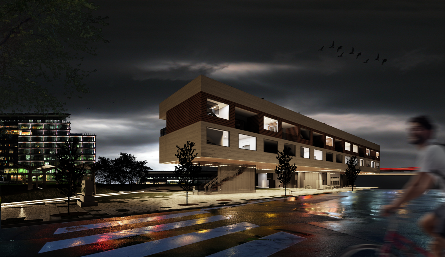 Render of stylish building at night time