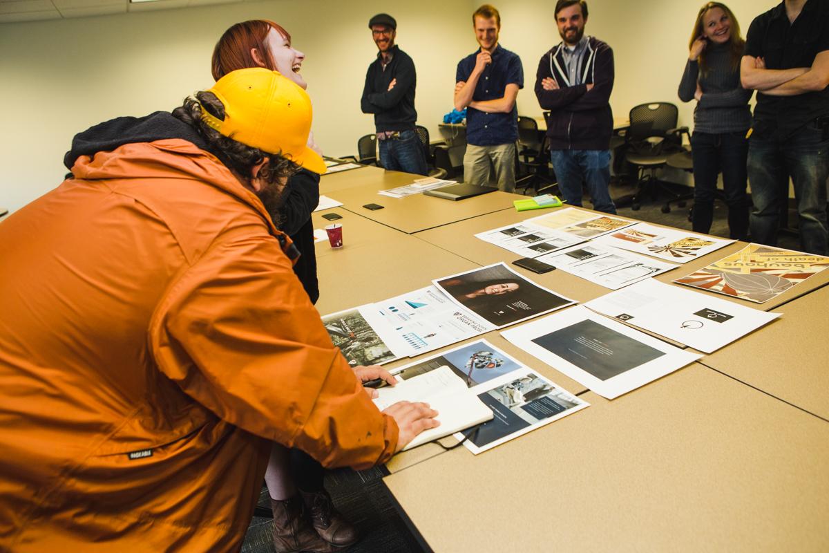 Aaron Drapin interacting with KCAD students