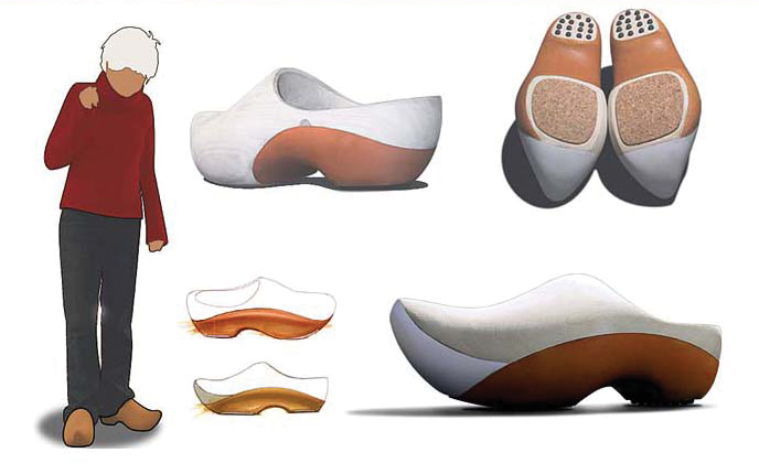 Renderings from student in the Footwear Design class