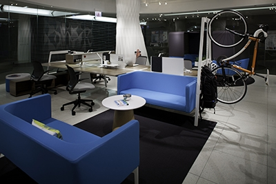 The BVI office furnture line highlights Steelcase's Neocon display, complete with one of Alter Cycles' bikes