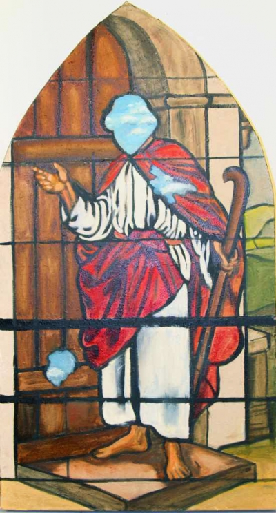 Stainglass style painting of Jesus on a doorstep by Sandra Hansen