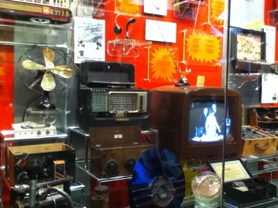 This picture is one of the exhibits at the Public Museum, about communication technology.