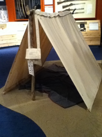 This is another part of the civil war exhibit, aimed at children, a tent visitors can go in, with a camp area set up nearby.