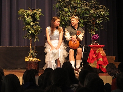 ERMS student actors portraying Cinderella and the Prince