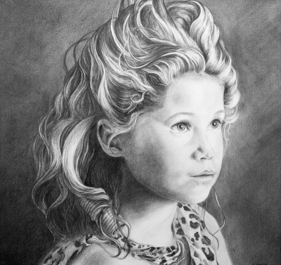 Pencil portrait of a girl by Jennifer Jones