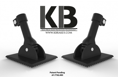 Photo of two freestanding Kbrakes with KB logo and web address