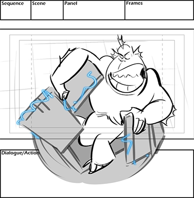 storyboard from Nickelodeon cartoon Monsters vs Aliens (copyright Nickelodeon)