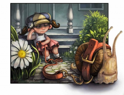 Digital painting of a girl and a life sized snail by Alyssa Parsons