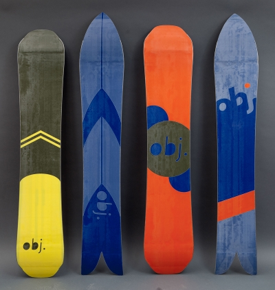 Four custom snowboards by Sarah Darnell