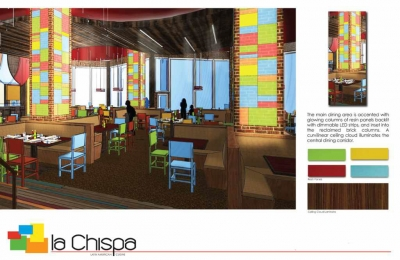 Rendered concept of a restaurant by Sharon Schlueter