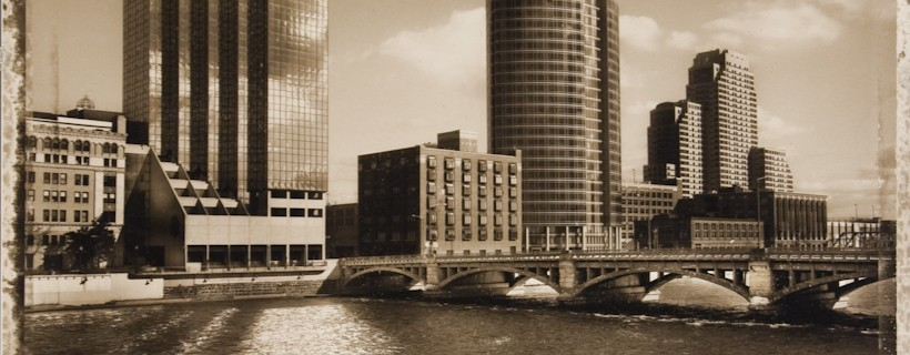 sepia photo of downtown skyline by student Andrew Maguire