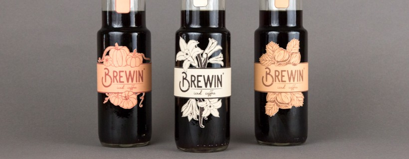 three bottled with labels saying Brewin iced coffee