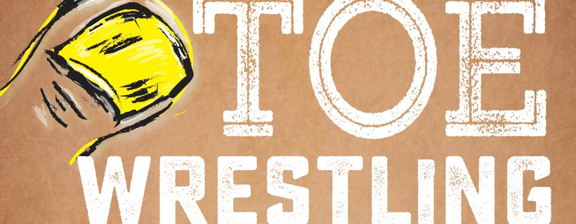 brown and yellow poster for another world toe wrestling championship