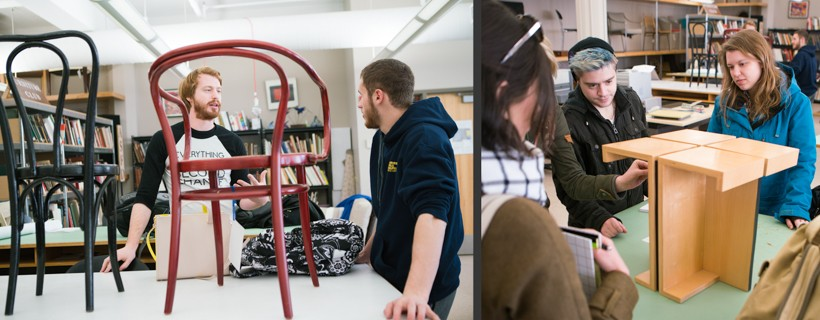 Collage of photos showing students looking at chairs