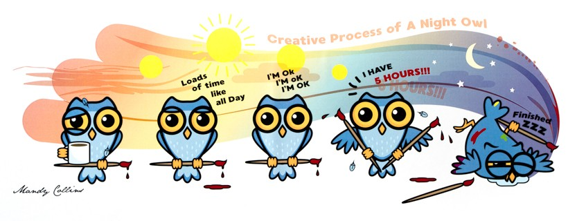 several owls with paintbrushes illustrating the timeline of the creative process