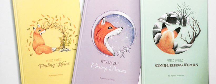three book covers with fox illustrations