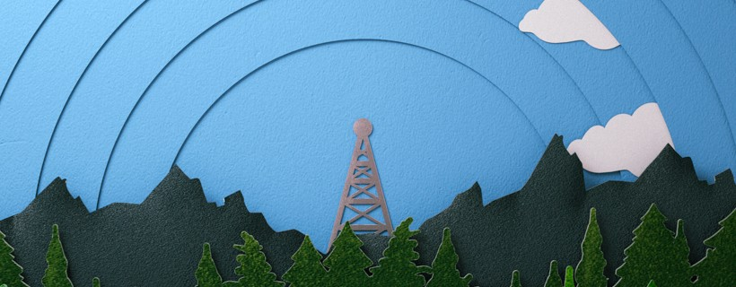 Forest and sky computer graphic with radio tower