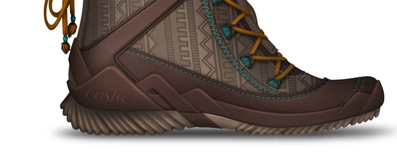 brown shoe with orange laces and teal stitches