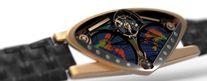 Watch with small triangular face featuring very small hands and two maps of the earth