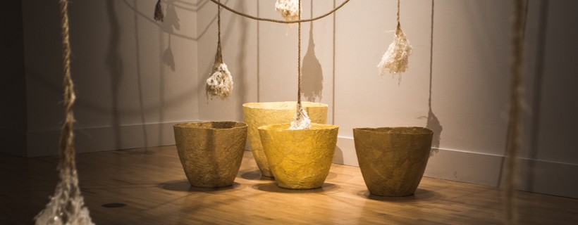 Ropes hanging from gallery ceiling, tipped with borax crystals, suspended above yellow basins