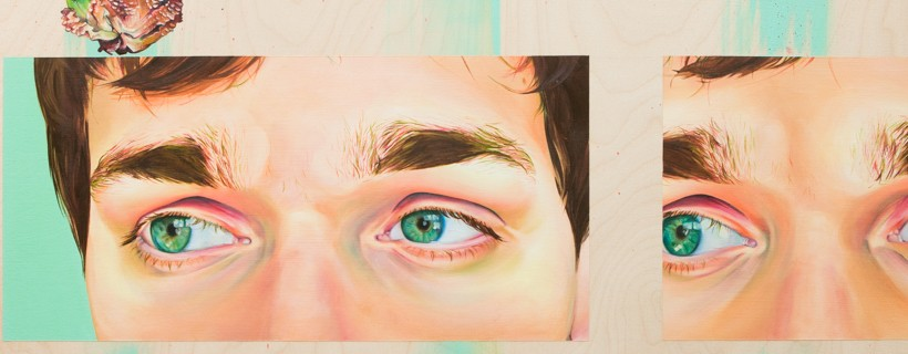 Figures eyes depicted with radiant blue-green eyes and mason jar outlines on the bottom of the piece