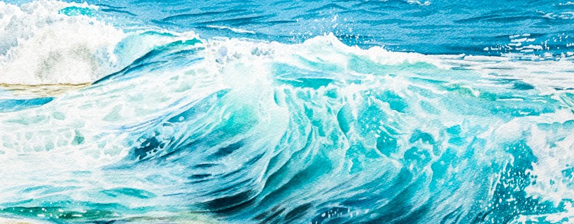 watercolor of cresting wave