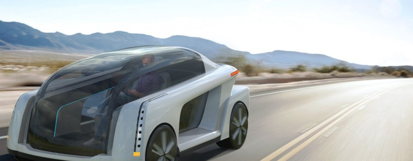 rendering of autonomous car on highway