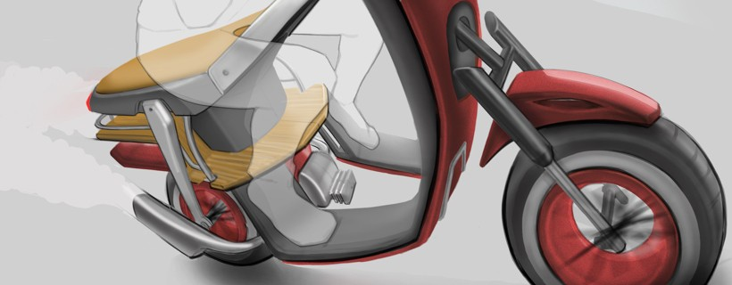 Digital rendering of red and yellow moped with ghosted figure