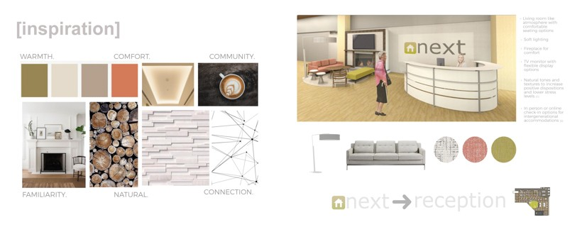 interior design montage of ideation renderings and inspiration
