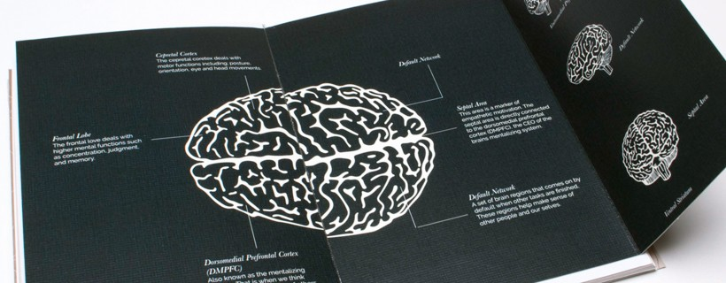 Flat descriptive black and white design of a human brain